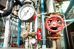 加热系统锅炉室设备 库存照片