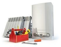 加热系统为服务的或repearing的概念 燃气锅炉, radia 向量例证