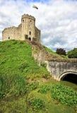 加的夫城堡保留在威尔士,英国 图库摄影