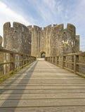 加的夫城堡 加的夫,威尔士,英国  透视图 图库摄影