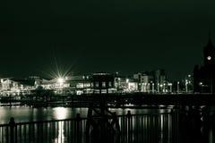 加的夫海湾在夜B之前 免版税库存照片
