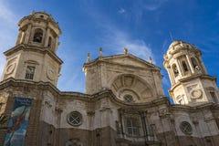 加的斯主教座堂门面  库存照片