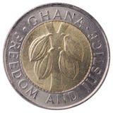 100加纳塞地(第二个cedi)铸造, 1999年,面孔 免版税库存照片