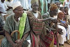 加纳的村庄长辈小组画象  免版税库存图片