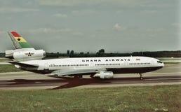 加纳航空准备好的道格拉斯DC-10-30飞回家 图库摄影