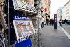 费加罗报法语按与伊曼纽尔Macron和马琳・勒庞 库存图片