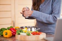 加胡椒的妇女到她的菜炖煮的食物 库存图片