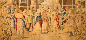 贝加莫-挂毯Lo Spozalizio della Vergine (订婚)从年1583亚历山德罗Allori在教会圣玛丽亚Maggiore里 库存照片