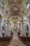 贝加莫-教会圣亚历山德罗della克罗齐教堂中殿  库存图片