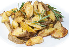 加调料烘烤的土豆 免版税库存照片