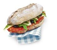 加调料的口利左香肠和沙拉与裁减路线的ciabatta三明治 免版税库存照片