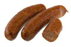 加调料的口利左香肠香肠白色 免版税图库摄影