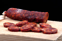 加调料的口利左香肠香肠西班牙语 图库摄影