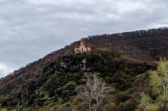 加赫,阿塞拜疆山的老古老阿尔巴尼亚教会  库存图片