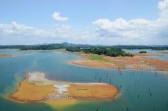 加通湖,巴拿马运河鸟瞰图  库存照片