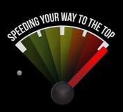 加速您的方式对顶面概念车速表 免版税库存照片
