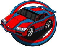 加速的动画片汽车 库存例证