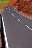 加那利群岛在山的弯曲道路曲线 免版税图库摄影