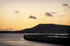 加那利群岛日落-兰萨罗特岛 免版税图库摄影