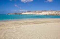 加那利群岛,西班牙Sotavento海滩在费埃特文图拉岛, 库存照片