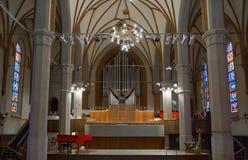 加里宁格勒的器官大厅爱好音乐在教会里  库存照片