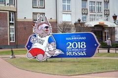 加里宁格勒,俄国 与Zabivaki小狼的世界杯足球赛国际足球联合会的吉祥人的图象的一个广告牌2018年  图库摄影