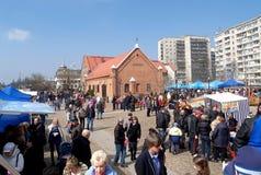 加里宁格勒,俄国 庆祝在世界海洋的博物馆疆土  天鲱鱼 免版税库存照片