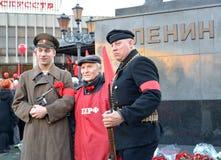 加里宁格勒,俄国 庆祝100 nniversary了不起的10月社会主义革命,历史表现 库存照片