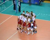 加里宁格勒,俄国 波兰的一个国家队的球员在比赛前的 免版税库存照片