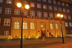 加里宁格勒,俄国 莫斯科旅馆门面在晚上 免版税图库摄影