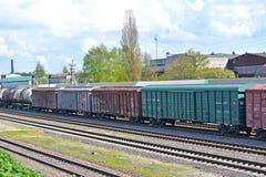 加里宁格勒,俄国 货车花费在火车站 免版税图库摄影