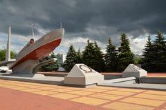 加里宁格勒,俄国 难忘的标志的看法对海员波儿地克的舰队水手的 库存图片