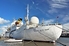 加里宁格勒,俄罗斯- 2017年4月23日:航天通讯船  库存图片