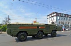 加里宁格勒,俄罗斯- 2015年5月09日:运输装货汽车  库存照片