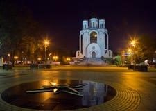 加里宁格勒,基督寺庙救主在晚上 库存照片