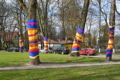 加里宁格勒 有穿戴的树的Gollandsky广场 免版税库存图片