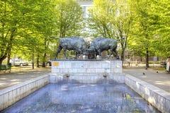 加里宁格勒 雕塑战斗的欧洲野牛 免版税库存照片