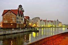 加里宁格勒city's堤防看法  免版税图库摄影