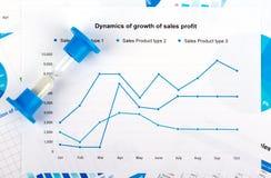 财务图表和图形 关于纸的销售报告 免版税库存照片