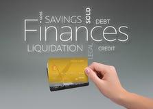 财务在灰色的三张信用卡 免版税库存图片