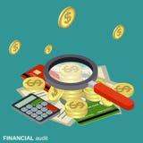 财务审计,金钱控制向量概念 免版税库存图片