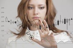 财务数据概念 妇女与逻辑分析方法一起使用 绘制与日本蜡烛的图表信息图表在数字式屏幕上 免版税库存图片