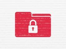 财务概念:与锁的文件夹在墙壁背景 库存照片
