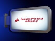 财务概念:在广告牌背景的商业运作自动化和齿轮 免版税库存图片