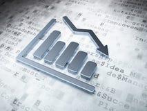 财务概念:在数字式背景的银色衰落图表 图库摄影