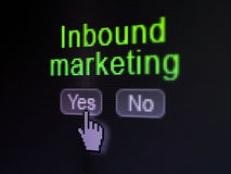 财务概念:在数字计算机屏幕上的入站营销 库存图片