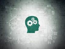 财务概念:有齿轮的头在数字式纸 库存图片