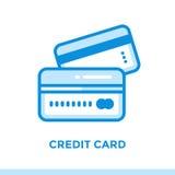 财务线性象信用卡,开户 适用于机动性 免版税库存照片
