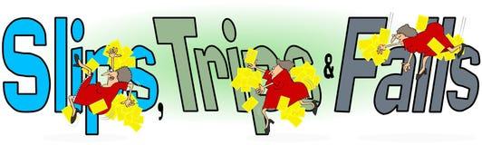 滑动、旅行和秋天,女工 免版税图库摄影