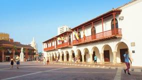活动在Plaza de la Aduana在卡塔赫钠的历史的中心 免版税库存图片
